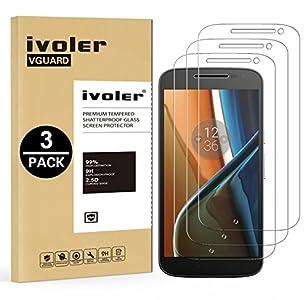 ivoler [3 Unidades] Protector de Pantalla para Lenovo Motorola Moto G4, Cristal Vidrio Templado Premium
