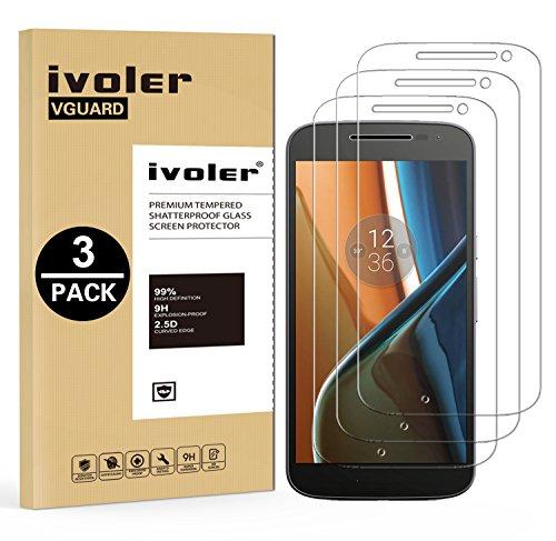 ivoler [3 Stücke] Panzerglas Schutzfolie für Lenovo Motorola Moto G4, 9H Festigkeit, Anti- Kratzer, Bläschenfrei, [2.5D R&e Kante]