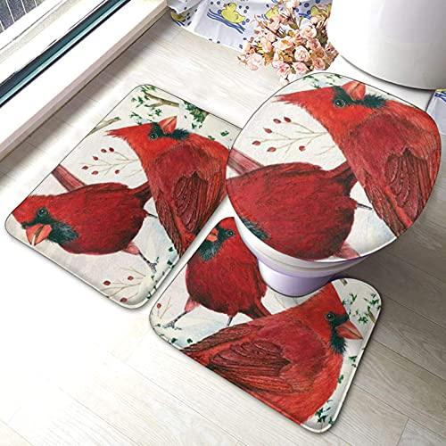 Juego de 3 alfombras de baño con diseño de pájaros rojos impresos, suaves, absorbentes, antideslizantes, alfombrilla de baño y tapa de inodoro