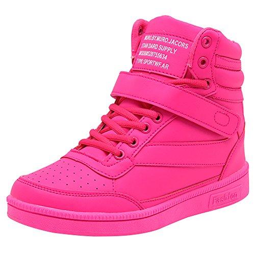 Wealsex Zapatillas de Cuña para Mujer Botas Botines Alta Zapatos Deportivos Oculto Talón Altura 3.5cm Interior Sneakers Rosa Roja 40