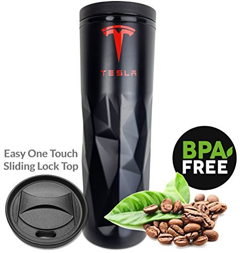 TESLA Travel Mug Coffee Tumbler - Ultra Lightweight Metallic Black 15 oz Double Wall Stainless Steel Insulation with Easy Open and Slide Lock Lid - Gift for Birthday, Father's Day, Christmas