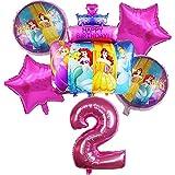 ENXI Globos de 6 globos de papel de princesa de Disney para baby shower de 81 cm con número de fiesta de cumpleaños, juguetes para niños de 45,7 cm (color: rosa2)