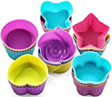 GREENRAIN Reusable Silicone Baking Cups, Muffin Baking Cups, Cup Cake Liners - 6 Shapes Pack of 24