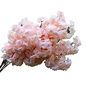 4Pcs Artificial Cherry Blossom Flowers Simulation Peach Blossom Branches Flowers Silk Peach Flowers Spring Peach Fake Plants for Wedding Arch Home Indoor Decorative (3.5ft)