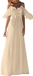 JONLYC Cold-Shouder A Line V Neck Applique Long Chiffon Wedding Dress Beach Bridal Gowns