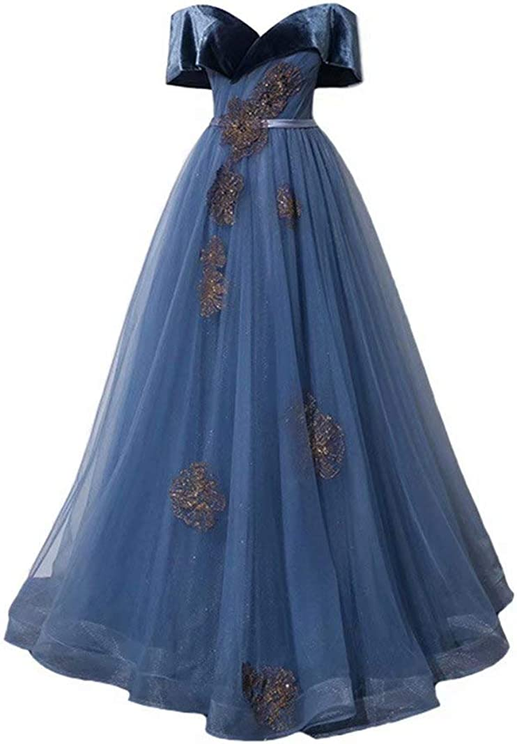 WDBFY Women's Vintage Velvet Organza Discount mail order Off Sales of SALE items from new works Dresses Shoulde Evening
