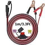Pinza de cocodrilo al conector SAE Cable de 1 m. Cable de desconexión rápida SAE al cable de la abrazadera de la batería Para Motocicleta, Coche, Tractor.con 3 tipo fusible