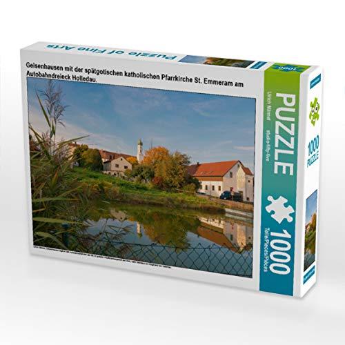 CALVENDO Puzzle Geisenhausen mit der spätgotischen katholischen Pfarrkirche St. Emmeram am Autobahndreieck Holledau. 1000 Teile Lege-Größe 64 x 48 cm Foto-Puzzle Bild von Studio-Fifty-Five