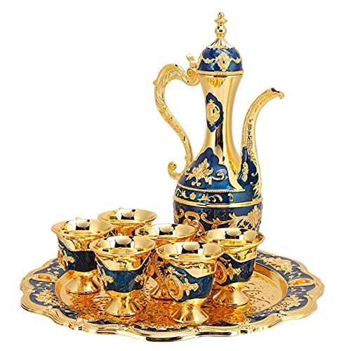 Cafetera turca vintage con 6 tazas de café, juego de té turco de metal que incluye bandeja de té artesanal, tetera y tazas de té para regalo de boda(Azul oscuro)