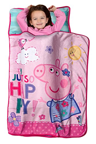 Peppa Pig I'm Just So Happy Toddler Nap Mat - Includes Pillow and Fleece Blanket – Great for Boys and Girls Napping at Daycare, Preschool, Or Kindergarten - Fits Sleeping Toddlers and Young Children