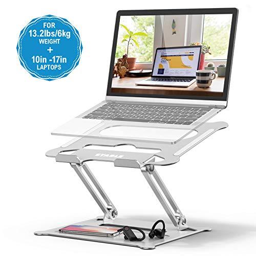 POVO Laptop Ständer Multi-Angle Höhenverstellbar mit Heat-Vent und Aufbewahrungsschale Notebook Ständer für Laptops 10-17 Zoll Silber