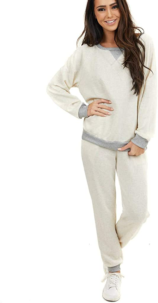 Women's Solid Color Pajamas Set Long Sleeves Two Pieces Pullover Tops and Pants Sets Joggers Sleepwear Loungewear