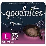 Goodnites Nighttime Bedwetting Underwear, Girls' L (68-95 lb.), 75 Ct