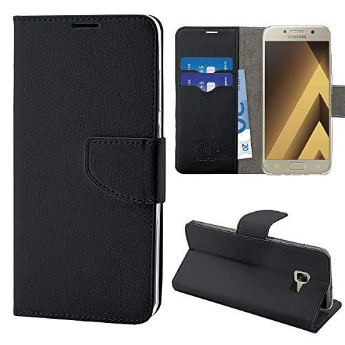 N NEWTOP Cover Compatibile per Samsung Galaxy A5 2017, HQ Lateral Custodia Libro Flip Magnetica Portafoglio Simil Pelle Stand (Nero)