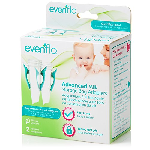 Evenflo Feeding Advanced Breast Milk Storage Bag Adapters for Breast Pumps (Pack of 2)