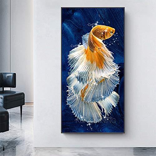 DIY 5D Diamante Pintura Taladro Completo Kit Pez Koi Carpa Feng Shui Diamond painting Full drill Bordado Punto de Cruz Crystal Artes Craft para decoración de Pared Round Drill,50x100cm(20x40inch)