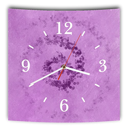 LAUTLOSE Designer Wanduhr mit Spruch Violett lila modern grau weiß modern Dekoschild Abstrakt Bild 29,5 x 28cm