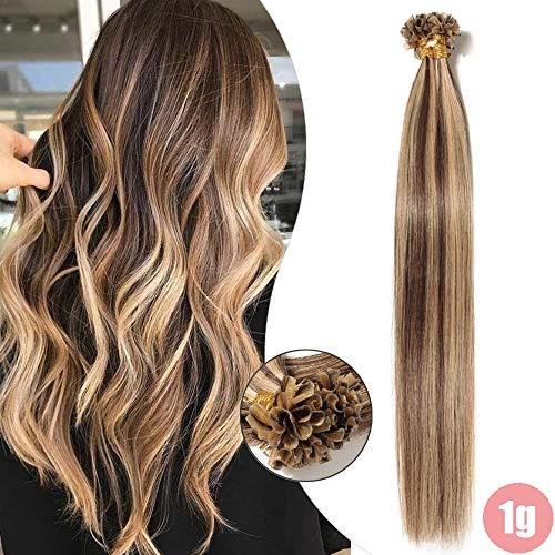 Extensions Echthaar Bondings 1g U-Tip Remy Haarverlängerung 50 Strähnen Keratin Human Hair Glatt 50g-40cm(#4P27 Schokobraun/Honigblond)