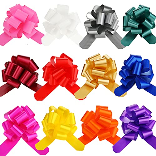 Bows for Gift Wrapping, Gift Bows with Ribbon Mixed Color Pull Bows for Gift Baskets Christmas Present 6 Inch (24 Pieces)