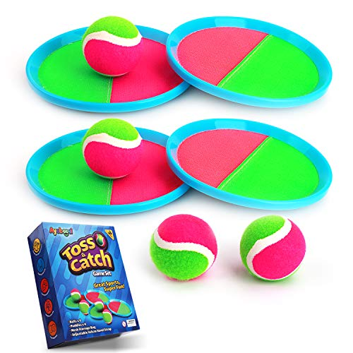 Ayeboovi Toss and Catch Ball Game Backyard Toy for Kids Paddle Game with 4 Paddles and 4 Balls [Upgraded Version]