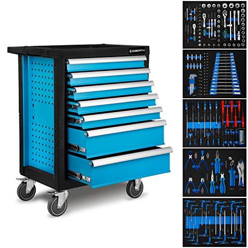 EBERTH Werkstattwagen blau inkl. Werkzeug (7 kugelgelagerte Schubfächer, 5 Schubladen mit Werkzeug...