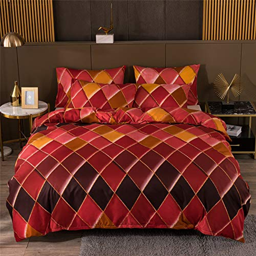 YYSZM Duvet Cover Bedding Light Luxury Gold-Plated Lines Checkered Pattern Microfiber Fabric Soft And Skin-Friendly 3-Piece Set 228x228cm