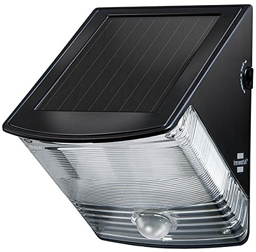 Brennenstuhl 1170970 SOL 04 Plus - Lámpara de pared solar LED (IP44, sensor de movimiento por infrarrojos, 2 ledes de color negro, clase energética C)
