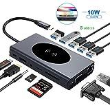 USB C ハブ 13 in 1 USBハブ Type c ワイヤレス充電器 ドッキングステーション 5Gbps 高速データ転送, 軽量 コンパクト Windows ノートPC 他対応 USBポート 100W出力 Power Delivery 対応type-Cポート / 1000M イーサネットRJ45 ジャック / HDMI / VGA / 5つの USB 3.0 ポート / microSD & SDカード スロット / 3.5mmオーディオジャック、MacBook Pro 2017 & 2018 / ChromeBook 他対応