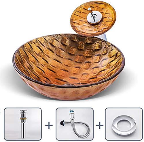 NANXCYR badkamermeubel van gehard glas, modern glas, vaas combo met waterkraan van waterval en pop-up set