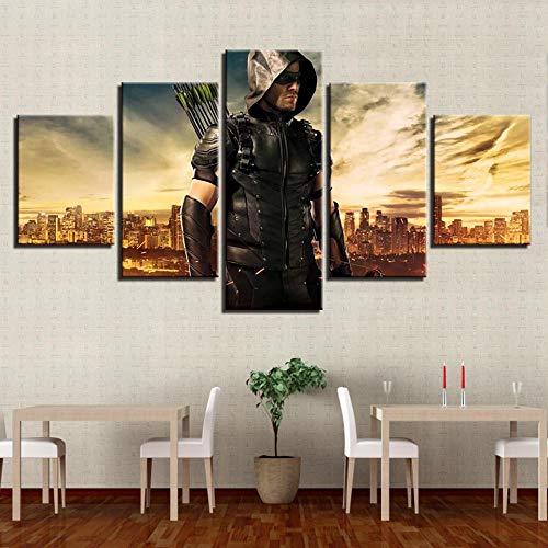 YANGSHUANG Leinwand Gemälde 5 Panel StückWand Künstler Residenz Dekoration Gedruckt Malerei Leinwand Wohnkultur Film Green Arrow Man Poster Modularen Charakter