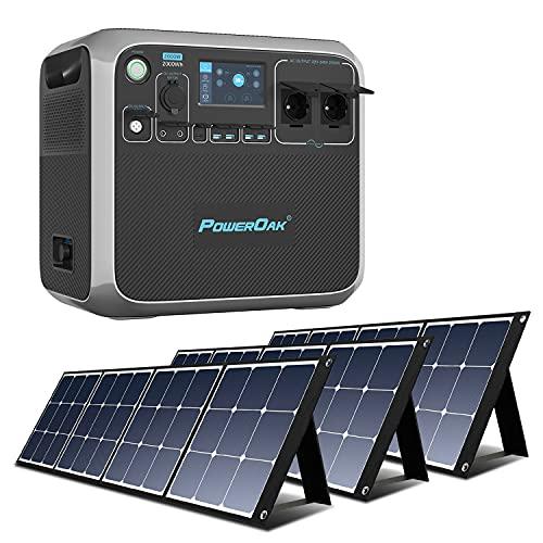 PowerOak Bluetti AC200P 2000Wh Generador Solar Portátil con 3 Piezas Paneles Solares...