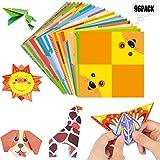 Liuer 96PCS Origami Papel,Papel para papiroflexia Set para niños y adultos para Origami para proyectos de arte y manualidades - 48 Motivos Distintos(15 * 15 Cm,Origami de Doble Papel)