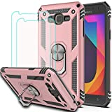 Galaxy J7 2015 Case,J7 NEO Case with HD Screen Protector (2Pack) KaiMai 360 Degree Rotating Ring & Bracket Dual Layers of Shockproof TPU and Solid PC Phone Case for Galaxy J7 J700 2015-Rose Gold