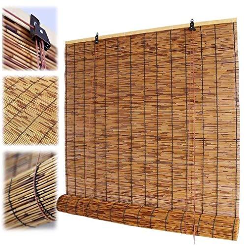 Cortina enrollable de bambú, persianas enrollables de caña natural para ventanas, cortinas de privacidad con elevación, impermeable /parasol /aislamiento térmico,para interior/exterior/patio/balcón.