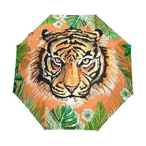 XiangHeFu Paraguas Jungle Tiger Auto Abrir Cerrar 3 Pliegues Ligero Anti-UV