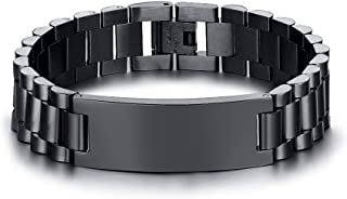 VNOX Personlized Jewelry-15.5MM Black Stainless Steel ID Tag Wide Link Bracelet Wristband for Men Boy,8.3