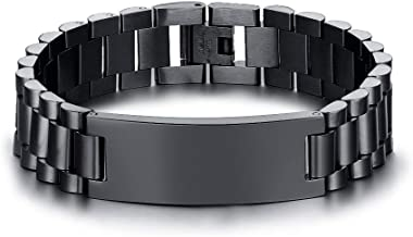 VNOX Masculine Watch Band Stainless Steel Link Bracelet Personalized Engraved DAD Jewelry Gift for Men DAD Father
