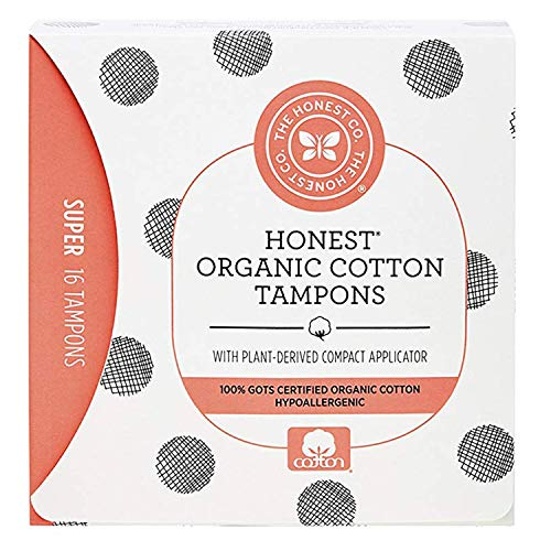 The Honest Company Organic Cotton Tampons with PlantBased Compact Applicator | Super | Hypoallergenic amp Breathable | GOTSCertified Organic Cotton | Feminine Hygiene Products | 16 Count