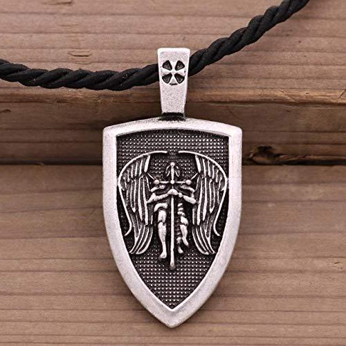 IENPAJNEPQN Los Hombres de Viking Collar arcángel San Miguel me Protege San Protección Escudo de Ángel Colgante de Las alas de la joyería Amuleto Talismán Wicca (Color : Cotton Rope Silver)