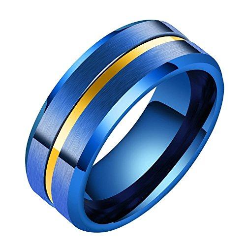 LANHI - Alianza de titanio de 8 mm para hombre, diseño de a