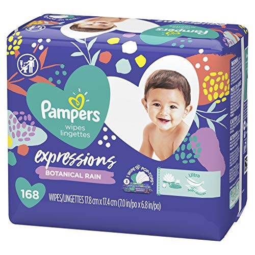 Baby Wipes, Pampers Expressisons Fresh Bloom Scented, 3X Pop-Top Packs, 168 Count