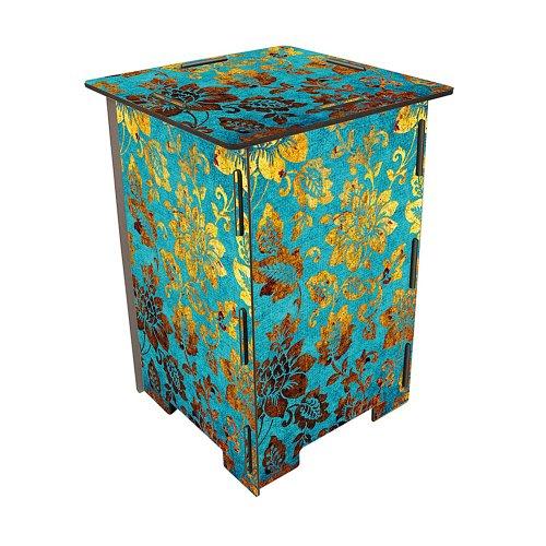 Werkhaus Design + Produktion Photohocker Blüten blau-Gold