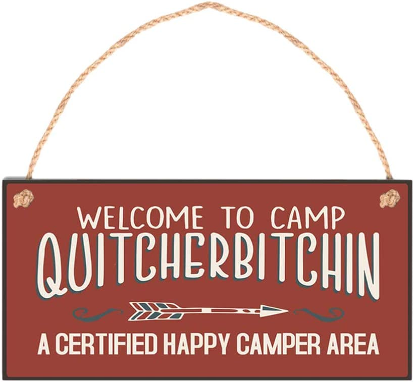Supvox Welcome to Camp Quitcherbitchin Plaque Hanging Wooden Sign Home Decor