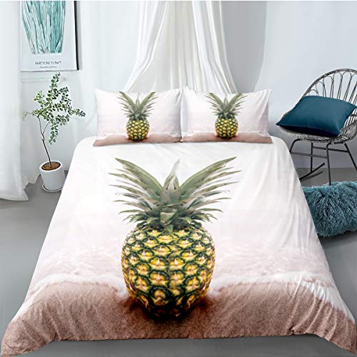 Andrui 3D Natural Scenery Duvet Cover for Girls Boys Bedding Set flowers Multicolor Soft Quilt Cover Microfiber with Zipper,With Pillowcase (White-Pineapple, Single Size 135 * 200cm)