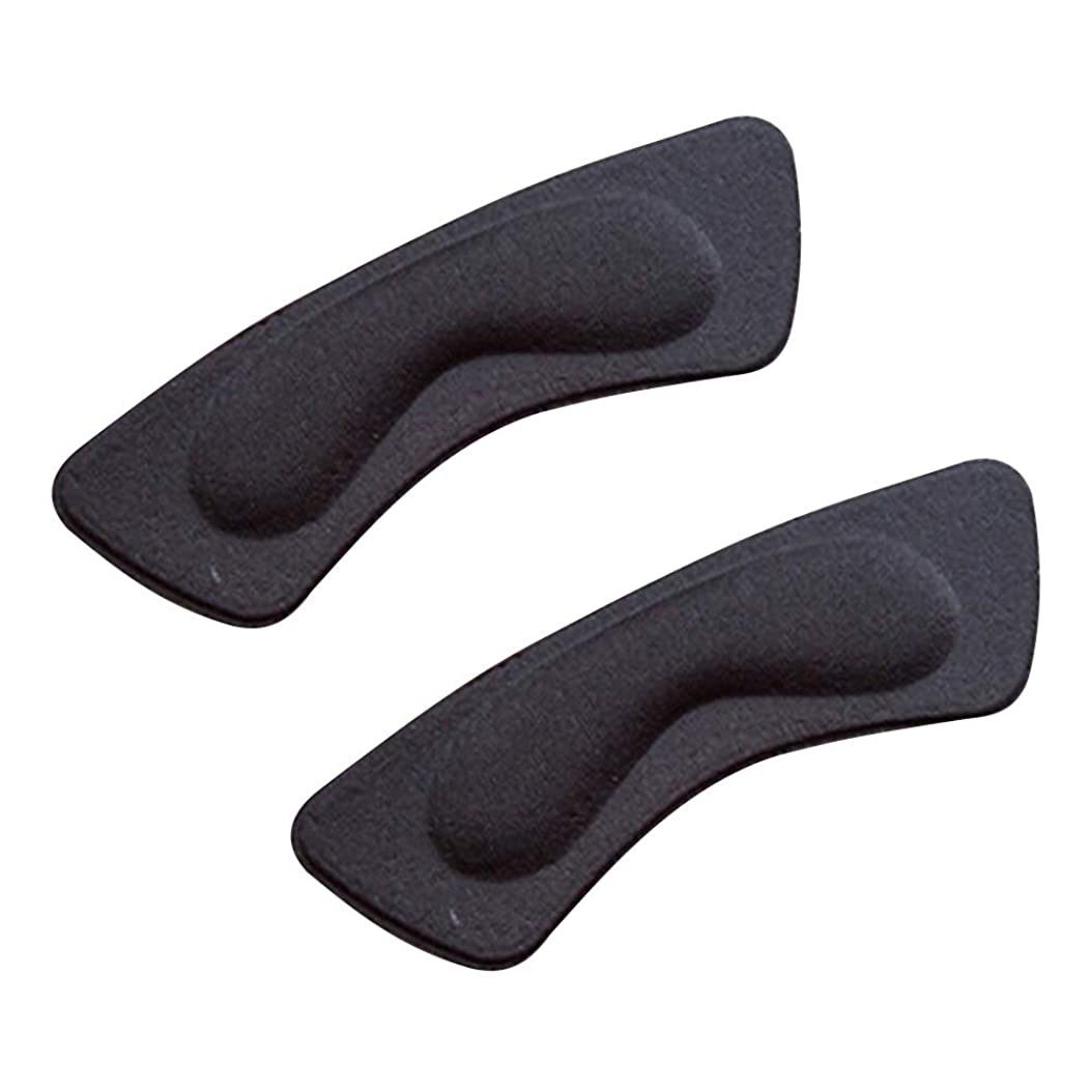 噴火東ティモールゆるくkiirou 靴擦れ防止パッド パカパカ防止 かかと テープ 2足 かと パッド クッション インソール 滑り止め かかとパッド 男女兼用 ハイヒール 革靴 スニーカー サイズ調整 (2層黒)
