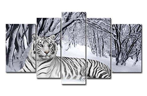 Lienzo Giclée de pared Art imagen para decoración del hogar de tigre blanco en nieve bosque 5 piezas Pinturas moderna estirada y enmarcado arte aceite