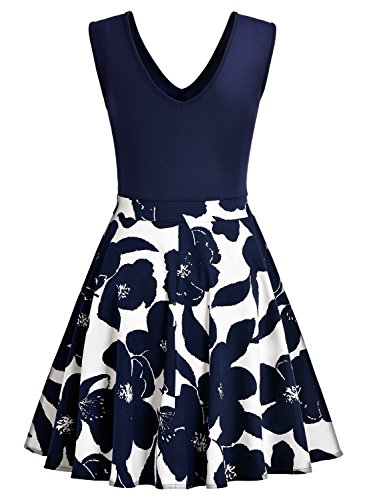 MIUSOL Kleid V-Vusschnitt Armellos Blume Patterned Mini Casual Kleid Navy Blau Gr.XL - 6