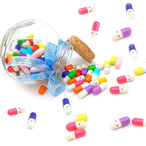 FUTUREPLUSX 100 Pcs Capsule Message in a Glass Bottle, Cute Smiling Half Pill Love Friendship Letter in Random Color with Exquisite Package for Friends Lovers Family