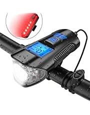 KUYING Bike Light Set,Bicycle Headlight with Horn and Speedometer Odometer,USB Rechargeable Bike Front Light and Tail Light,Fits All Mountain & Road Bike