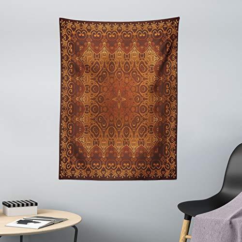 ABAKUHAUS Antiquität Wandteppich, Persische arabische Spitze, aus Weiches Mikrofaser Stoff Für das Wohn und Schlafzimmer, 110 x 150 cm, Orange Braun